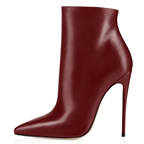 Wine 12cm Pointy Heel Toe Boots Ankle Women's Stiletto Women Fashion for Party Boots High Boots Eldof Ankle Stilettos Heel High HfIFq