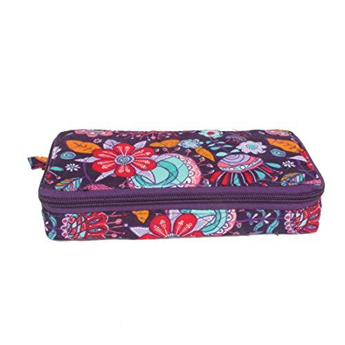 - Pill Organizer case Box,7 Days Round Vitamin Organizer Box (Purple Floral)
