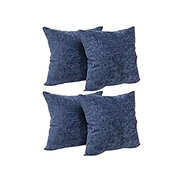 Mainstays Beautiful textured Chenille 18 x 18 Decorative Pillow, Set of 4 in Soft Colors Designed Navy