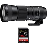 Sigma 150-600mm F5-6.3 DG OS HSM Zoom Lens (Contemporary) for Sigma DSLR Cameras (745-110) with Sandisk Extreme PRO SDXC 128GB UHS-1 Memory Card