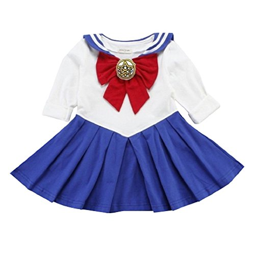 Anime Cosplay Costumes Sailor Moon (P's-JAPAN sailor moon Anime Cosplay costume Toddler Girls One Piece dress (Blue, 120(6-7)))