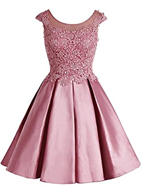Bbonlinedress 2017 Short Applique Scoop Cap Sleeve Bridesmaid Prom Party Dresses