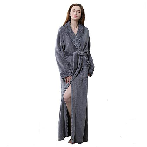 - Long Bath Robe for Womens Plush Soft Fleece Bathrobes Nightgown Ladies Pajamas Sleepwear Housecoat Grey