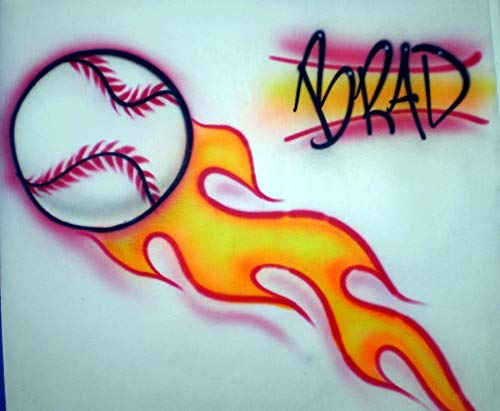 Airbrush Baseball with Flames - Youth/Adult Hoodie Sweatshirt - Personalized with Name ()