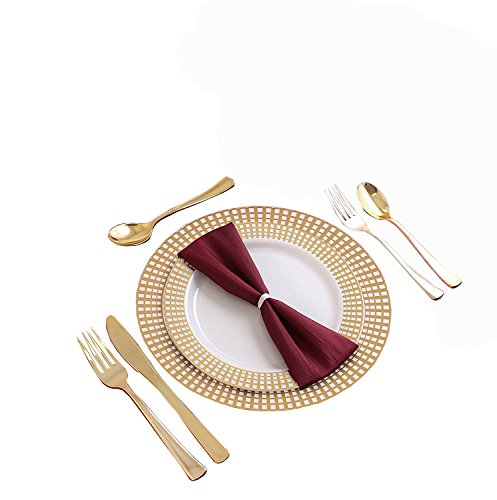 Party Bargains Disposable Plastic Plates Gold | Heavyweight & Premium Quality China Like Dinnerware Signature Collection | Plastic Gold Cutlery Set for Weddings, Fine Dining and Parties | 240 Counts