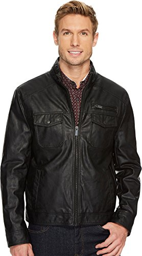 Collar Zip Front Leather Jacket - 5