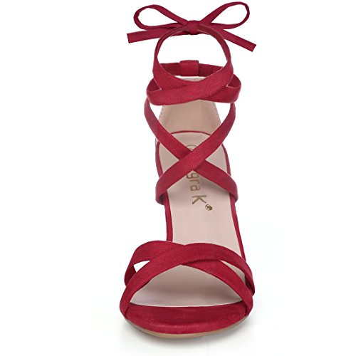 Block Red Women K Toe High Heeled Lace Open Sandals Up Allegra 0vAqwa6