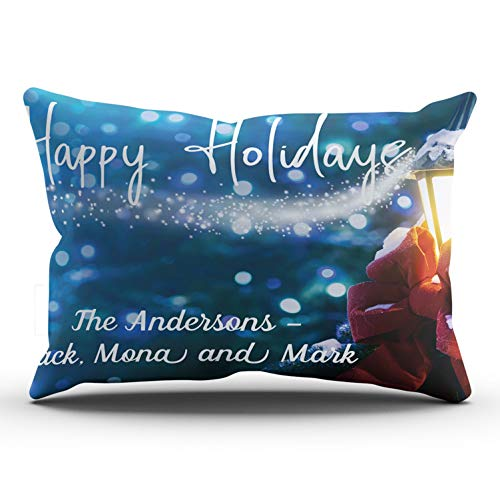 DOUMIFA Fashion Custom Home Decoration Pillowcase Christmas Lamp Lights Photo Merry Christmas Blue Gold and White Throw Pillow Cover Cushion Case Design One Sided Printed Lumbar 12x24 (Fine Feather Floor Lamp)