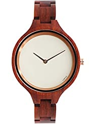 Hstyle Womens Handmade Real Rosewood Wooden Watches with Sapphire Glass