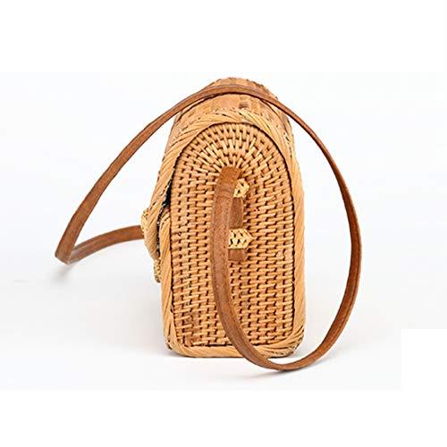 mano mimbre mariposa Bali tejida de de a de 2018 mensajero otono bolsa bolsa hebilla moda cana bolso de cuadrado Bohemia de SODIAL bolsa xZqEpU0nwF