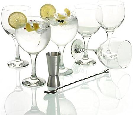 LAV - Set Gin Tonic con 6 Copas de Balón, 1 Vaso Dosificador, 1 ...