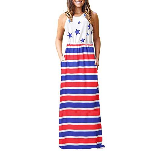 MILIMIEYIK Blouse Fashion Women Patriotic American Flag Print Lace Camisole Tank Top (5XL)