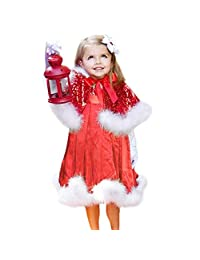 Infant Toddler Baby Girl Christmas Clothes Princess Dress 1-5 Years Old Kids Party Dress+Shawl Xmas Set Outfit