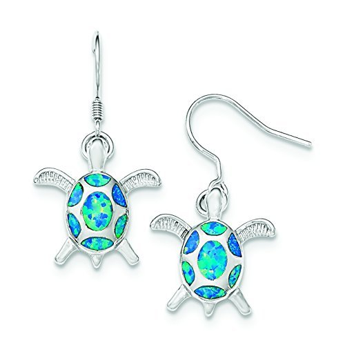 Sterling Silver Created Simulated Blue Opal Turtle Shepherd Hook Earrings by Bonyak Jewelry