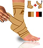 Athledict Plantar Fasciitis Sock Sleeve with Ankle Brace Strap for Support & Pain Relief by trade; (Nude, L)