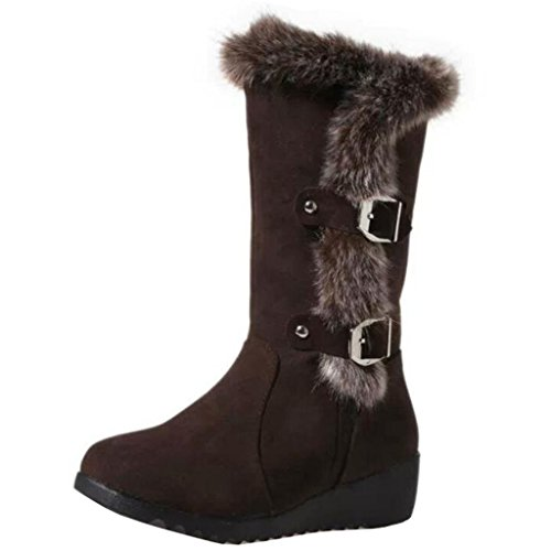 piel para con y de Botas de cuña marrón Binying redonda hebillas mujer de de de punta cordones sin nieve tacón fREqYxwqU