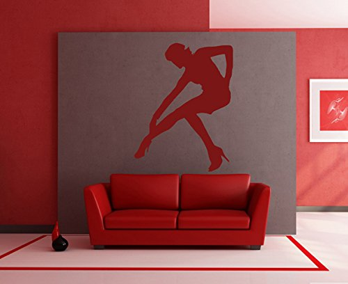 ik2314 Wall Decal Sticker silhouette girl pose living room shop stained glass - Silhouette Glasses Kids