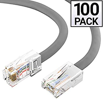 Image of GOWOS Cat6 Ethernet Cable (100-Pack - 0.5 Feet) Gray - 24AWG Network Cable with Gold Plated RJ45 Non-Booted Connector - 10 Gigabit/Sec High Speed LAN Internet/Patch Cable - 550MHz