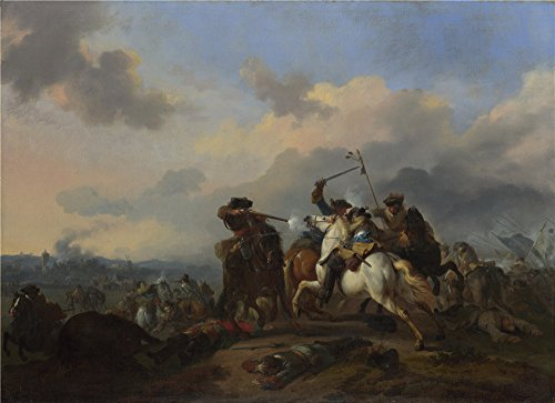 Oil Painting 'Jan Van Huchtenburgh A Battle', 20 x 28 inch / 51 x 70 cm , on High Definition HD canvas prints is for Gifts And Laundry Room, Powder - Hours Valley Oxford