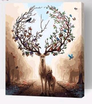 Prime Leader Wooden Framed Diy Oil Painting, Paint By Number Kit Fantasy Forest Deer 16x20 Inch