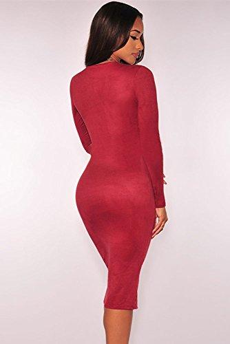 Rojo vino Ante Sintético de Manga Larga hendidura bodycon vestido Club Wear TAMAÑO UK/M 10–�?2