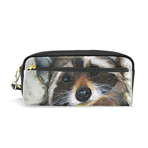 Pencil Case HMBROTHERS Stylish Print The Racoons Pattern Large Capacity Pen Bag Makeup Pouch Durable Students Stationery Two Pockets With Double (Racoon Makeup)