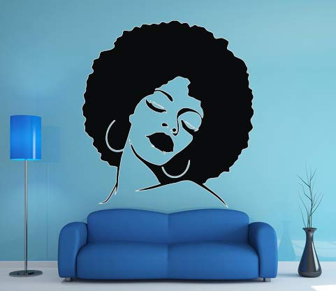 Wall Vinyl Sticker Decals Mural Room Design Pattern Art Decal African American Women Hair Salon Beauty 675a ()