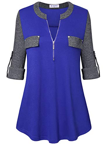 Bulotus Women Tunic Tops 3/4 Sleeve Shirts for Leggings (Blue Grey Patchwork, Small)
