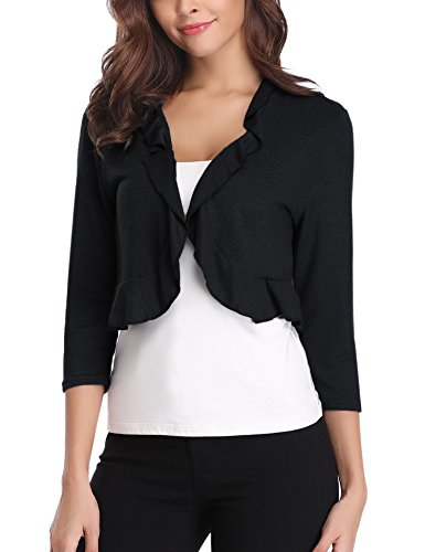 Sleeve Cardigan Short Ruffle (Abollria Women's Long Sleeve Cropped Bolero Shrug Ruffle Design Open Front Cardigan)