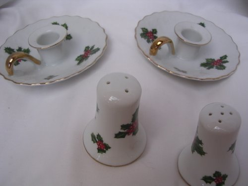 Lefton China Collectible Christmas Candleholders Salt & Pepper Shakers