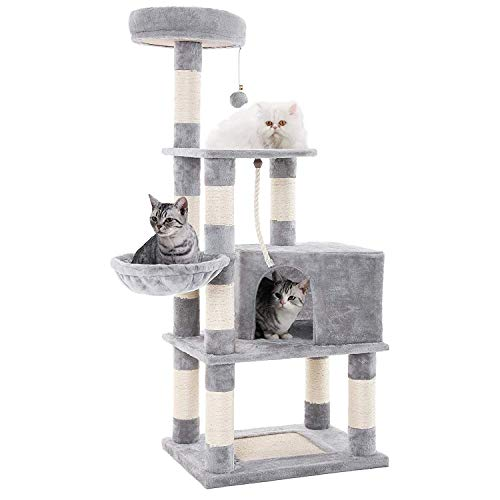 SENYE PET Cat Tree Tower Condo Furniture Kitten Pet Kitty Play House with Scratching Posts, Hammock, Basket, Activity Centre - for Kittens, Cats and Pets (Grey)