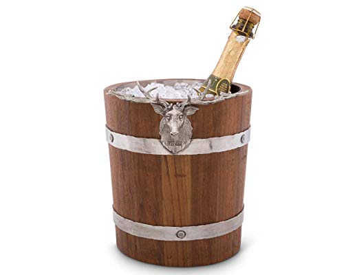 Vagabond House Teak Wood Vintage Pail Ice/Wine/Champagne Bucket with Pewter Elk Head Accent 9.5