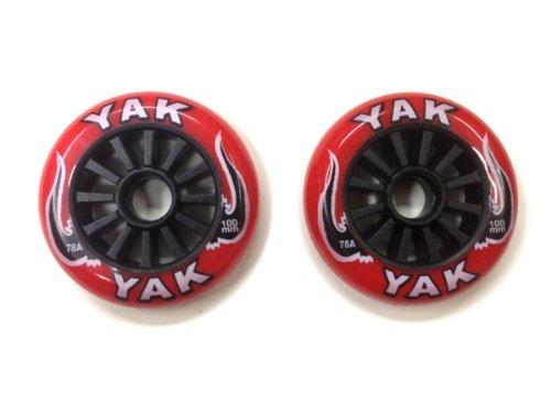 YAK キックボード用ウィール 100mm x 78a(Soft)前後Set (Red on Black)