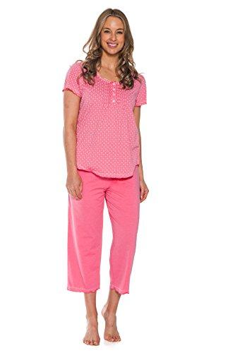Patricia Women's Soft Capri and Short Sleeve Knit 2 Piece Pajama Set Sleepwear (Strawberry, X-Large) (Piece Capri 2 Set)