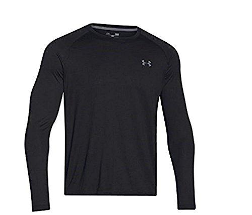 Under Armour Men's Tech L/S T-Shirt Black / Steel XL & HDO Workout Visor Bundle