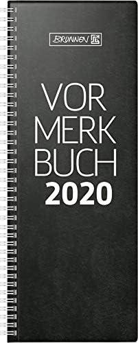 BRUNNEN 107842290 Tischkalender/Vormerkbuch Modell 784 (1 Seite = 2 Tage, 110 x 297 mm, Deckenband, Kalendarium 2020, Wire-O-Bindung) schwarz