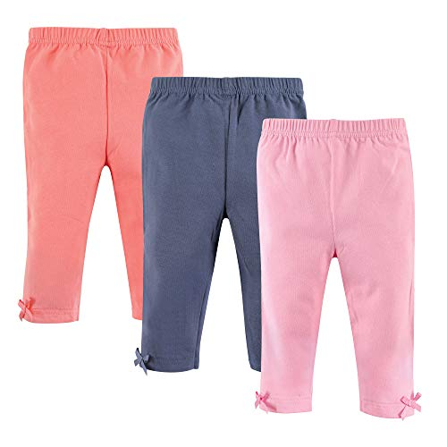 Hudson Baby Baby-Girl Leggings with Knotted Ankle Bow, 3 Pack, Pink, Navy & Coral, 9-12 Months