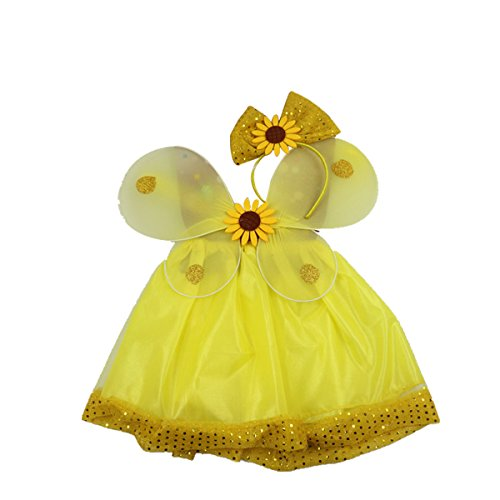 3Pcs Sunflower Fairy Costume Set Angel Girls Fairy Dress Outfit for Cosplay Party Performance]()