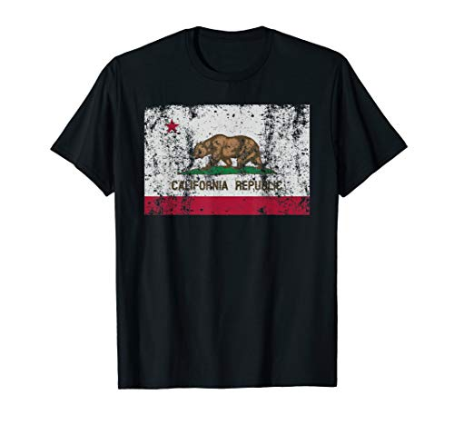 California Flag T Shirt Republic Vintage Retro Official ()