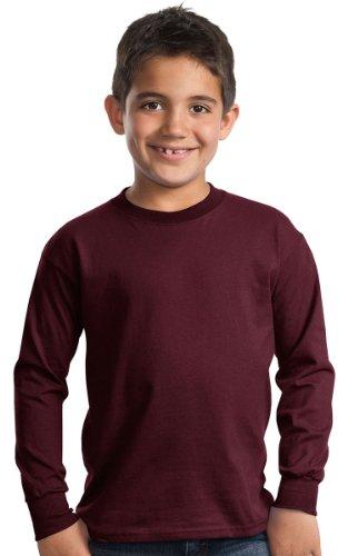 Port & Company Boys' Long Sleeve Essential T Shirt S Athletic Maroon