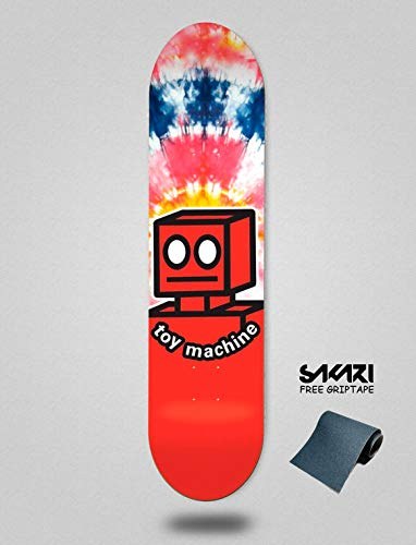 lordofbrands Toy Machine TM 7.875 Robot Tie Dye Monopatín Skate Skateboard Deck