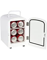 Quality Kitchenware - Portable Mini Fridge - Both Cooler and Warmer - Auto Car Boat Home Office AC & DC- White Color - Compact Classic Travel 12v Refrigerator - Iceless Cold Beverage - Convenient