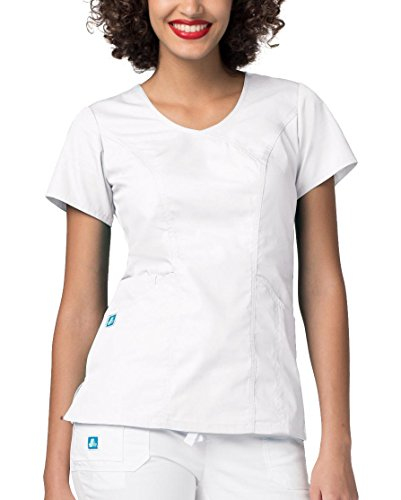 Adar Universal Women's Wave Pocket Crossover Scrub Top - 2636 - WHT - XL