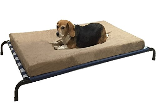 Dual Function Heavy Duty Metal Elevated Pet Bed with Textilene Fabric and Waterproof Memory Foam Suede Brown Color Bed for Medium to Extra Large Dog 48