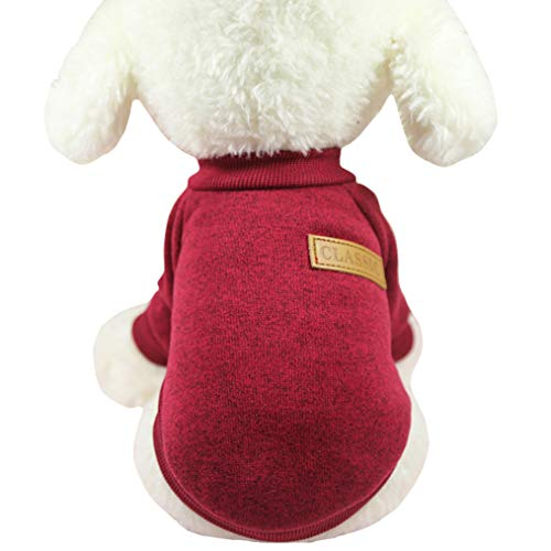 Fashion Focus On Pet Dog Clothes Knitwear Dog Sweater Soft Thickening Warm Pup Dogs Shirt Winter Puppy Sweater for Dogs (Medium, Wine) from Fashion Focus On