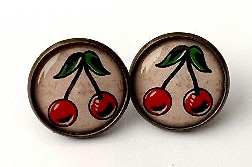 Cherry Earrings Antique Bronze Studs Jewellery Tattoo Rockabilly Kitsch Retro BN