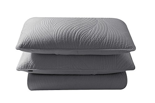 Brielle Stream Quilt and Sham Set, Twin, Light Grey ()