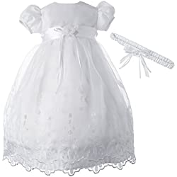 Lauren Madison Baby-Girls Newborn Satin Floral Embroidered Dress Gown Outfit, White, 6-9 Months