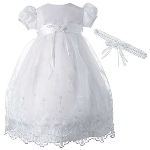 (Lauren Madison Baby-Girls Newborn Satin Floral Embroidered Dress Gown Outfit, White, 6-9 Months)