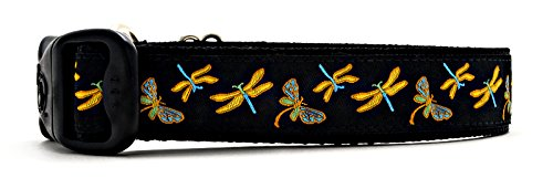 "3 Dirty Dawgz Adjustable 1"" Vibrant Dragonfly and Colorful Spring Dragonflies Dog Collars for Medium Large and X-Large Dogs (Medium 1"" (14""- 22"" Neck), Black)"